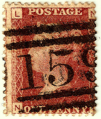 PENNY REDS 1d Stamp SG43 GB QUEEN VICTORIA Plate 174 NL GLASGOW 159 CANCEL