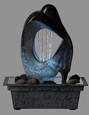 Tabletop Indoor Water Fountain Light LED Silhouette Indoor Decor Patio Sculpture