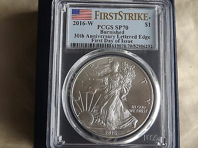2016 W Burnished Silver Eagle 1 oz  PCGS SP70 First Day of Issue