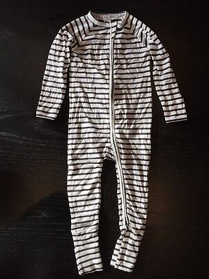 Bonds Baby Boy Black White Stripe Wondersuit Two Way Zip Size 2 BNWT