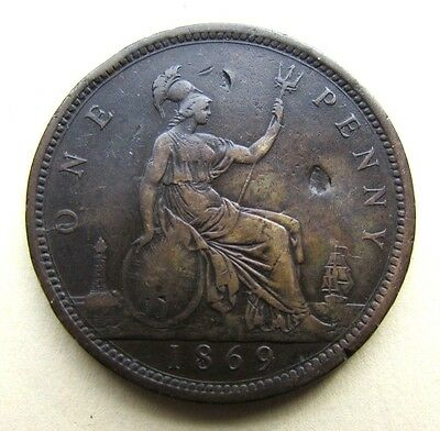 1869 Penny - Rarest Date Of The Series, Extremely Hard To Find In Any Condition