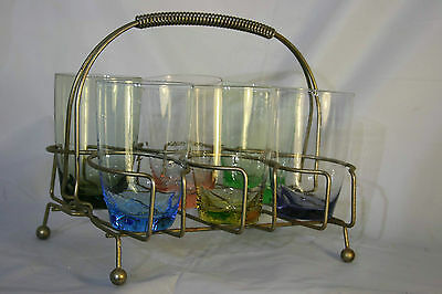 6 x Retro Coloured Drinking Glasses + Atomic Wire Drinks Holder