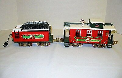 Holiday Express G Scale Coal Tender & Caboose by New Bright