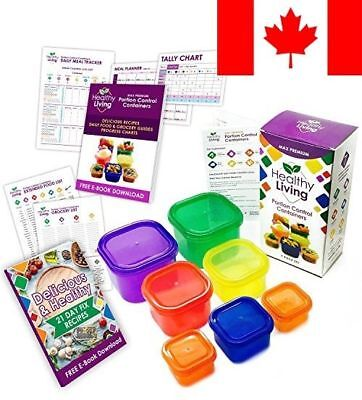 Healthy Living 7 Piece Portion Control Containers Kit with COMPLETE GUIDE, Mu...