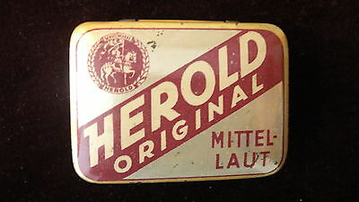 Grammophon Nadeldose Herold mit Nadeln / gramophone needles tin good condition
