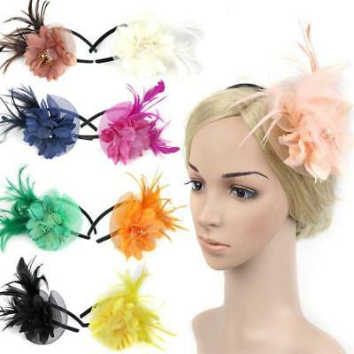 Feather Fascinator Flower Veil Hat Hairband Party Costume for Girls