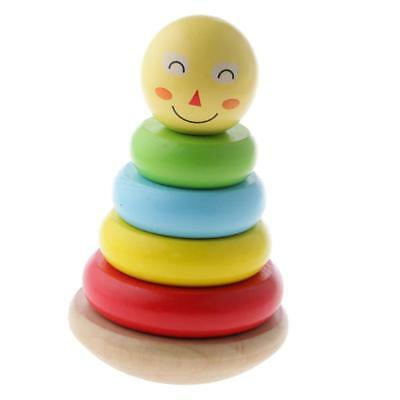 Wooden Smiling Rainbow Stacker Stacking Toy Tumbler Rainbow Tower Kids Gifts