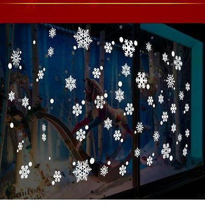 Reusable White Christmas Snowflakes Window Stickers Clings Xmas Decorations