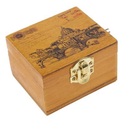 Vintage Wood Hand-cranked Music Box Melody Box Plays Castle in the Sky Tune
