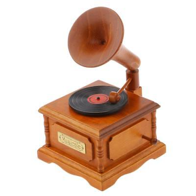 Classic Wooden Gramophone Music Box with Fur Elise Tune Kids Christmas Gift