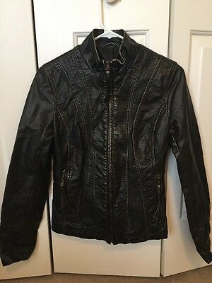 Women's Big Chill Faux Leather Jacket Black Brown Size Xs