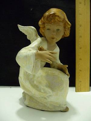 """Lladro Figurine Bisque Angel with Snail on Hand 6 1/4"""" Tall"""