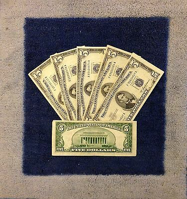 ✯$5 Silver Certificate Note✯ Blue Seal ✯Old Money Rare Bill Lot 1953✯FREE SHIP✯