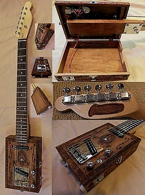 Carl's Custom 6 String Handcrafted Engraved 2 Pickup Electric Cigar Box Guitar