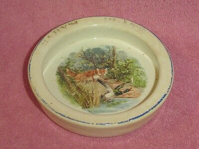Vintage Baby's Plate Round Ceramic Child's Bowl Dish Fox Duck Woodland