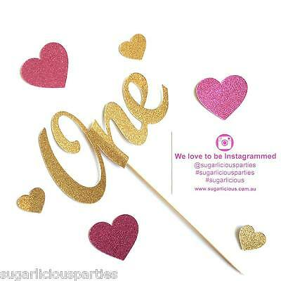 ONE Cake Topper - Gold Glitter Paper Cardstock, 1st Birthday Party Decoration