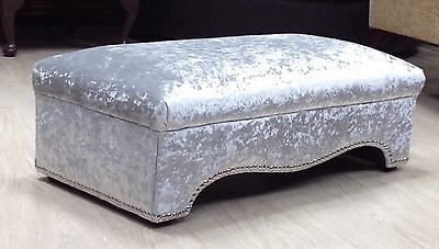 New Large Footstool/coffee Table, Silver Crushed Velvet