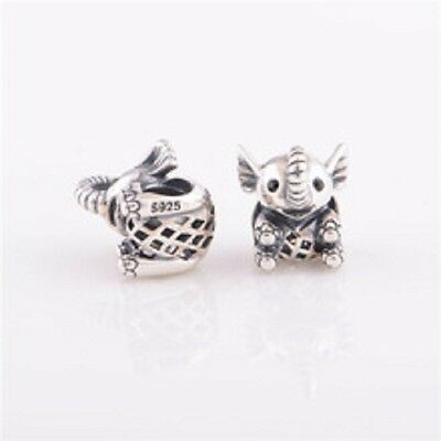925 Sterling Silver elephant Charm to fit 3mm European Bracelet