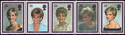 Great Britain #1795a MNH VF Princess Diana strip of 5
