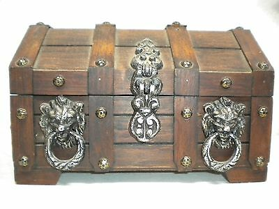 Large Vintage Wooden PIRATE TREASURE CHEST TRUNK Lion Head Trinket Stash BOX
