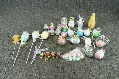 Lot Of Wood Plastic And Glass Easter Decorations
