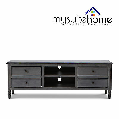 Lydia Brand New Solid Rubber Wood Entertainment TV Classic Grey 4 Drawers Unit