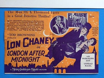 Rare LONDON AFTER LONDON Herald w Movie Poster Art 1927 Lon Chaney Silent HORROR