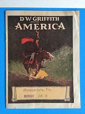 Ultra Rare AMERICA Herald w Movie Poster Art 1924 D.W. Griffith Silent Film