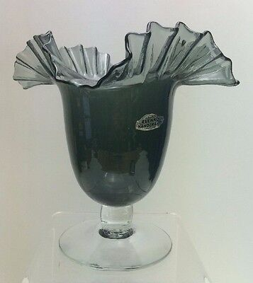 Vintage 1950's Blenko Glass Vase Crimped Ruffled Rim Grey With Clear Foot #388
