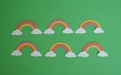6 Rainbow Embellishments Die Cuts Scrapbooking  Fully Assembled Rainbows Weather
