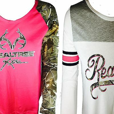 REALTREE Women's Exlucsive White and Pink Hunting Camping Fishing Hiking T-shirt
