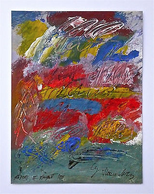 CY TWOMBLY -- A RARE 1980s ORIGINAL DOUBLE SIDED MIXED MEDIA PAINTING / DRAWING