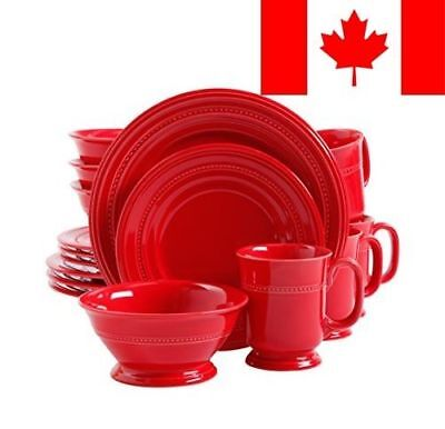 Gibson Home 16-Piece Barber Embossed Dinnerware Set, Red