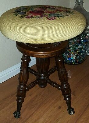 Antique Wooden Needlepoint Adjustable Height PIANO STOOL Glass Ball & Claw Feet