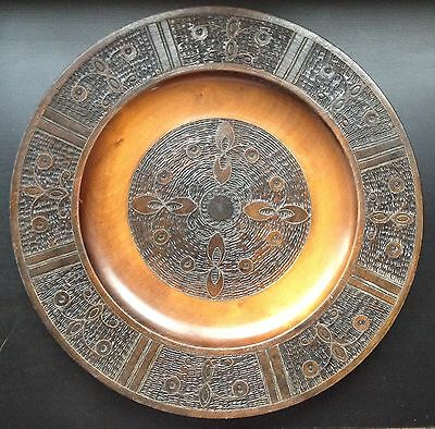 Large Vintage Indian Hand Carved Wooden Decorative Plate Tray Brass Inlay Floral