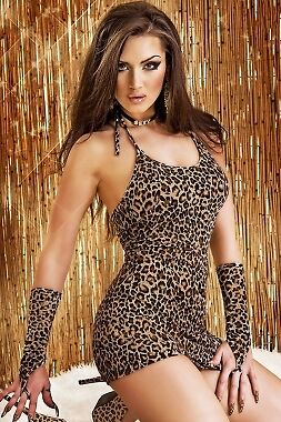 Saucy Uk - Women's Leopard Chemise Dress With Gloves - One Size - UK SELLER