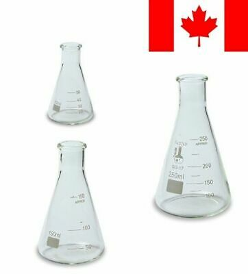 Glass Erlenmeyer Flask Set - 3 Sizes - 50, 150 and 250ml, Karter Scientific 2...