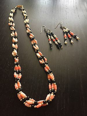 Fine Old Chinese Carved Pink Coral Onyx Gold 3 Strand Bead Necklace Earrings SET