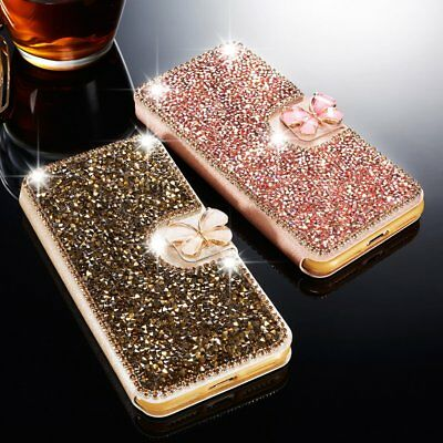 Crystal Bling Diamond Flip Leather Case Wallet Cover For iPhone X 7 Plus 6 6s 8