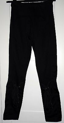 Women's Ladies Punk Rock Black Skinny Leggings With Corset-Style Ties Size Small