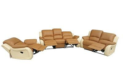 Voll-Leder Couch Schlafsofa Relaxsessel Fernsehsessel 5129-2+1-04-317