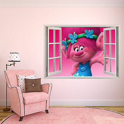 Personalised Kids 3D Window Poster Trolls Poppy Bedroom art