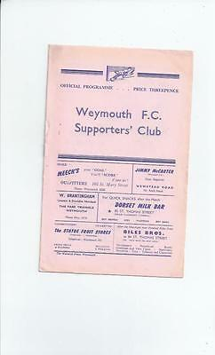 Weymouth v Cambridge City 1958/59  Football Programme