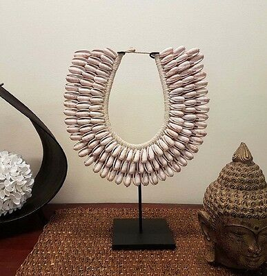 NEW ➰ 'CABO ISLAND' Tribal SHELL NECKLACE On Stand HOME INTERIOR DECOR DISPLAY