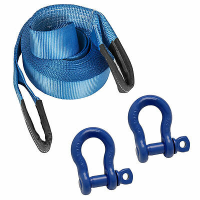 10M 4x4 Offroad Tow Rope Heavy Duty Towing Strap & 2 x 3/4 Shackles Recovery Kit