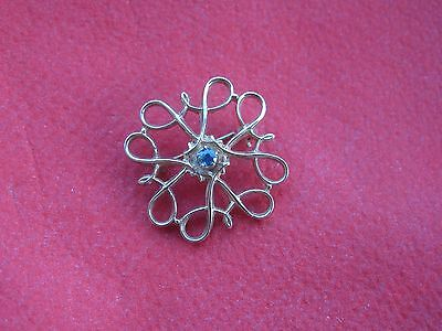 Vintage 9ct Yellow Gold Pin Brooch with Sapphire