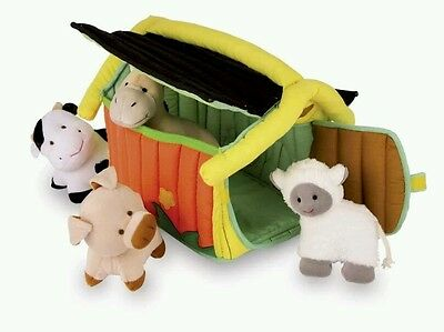 5 Piece Farm Textile Animals Stuffed Sheep Cow Hen Pig Baby Toy Soft Play UK NEW
