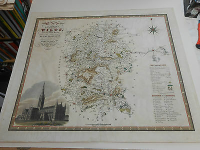100% Original Large Wiltshire  Map By Greenwood C1834 Hand Coloured