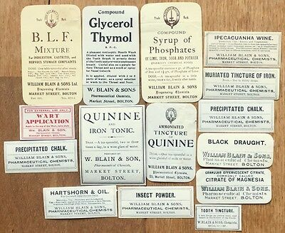 Lot of 15 old Chemist Product labels, William Blain, Bolton, medical, health