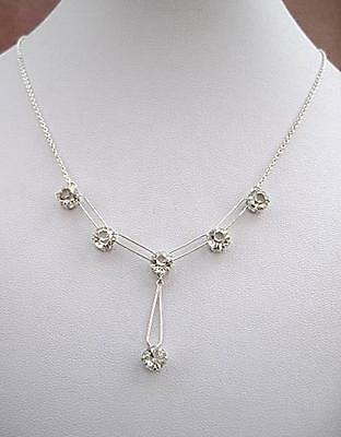Edwardian/Deco Silver Clear Open Backed Crystal Drop Necklace